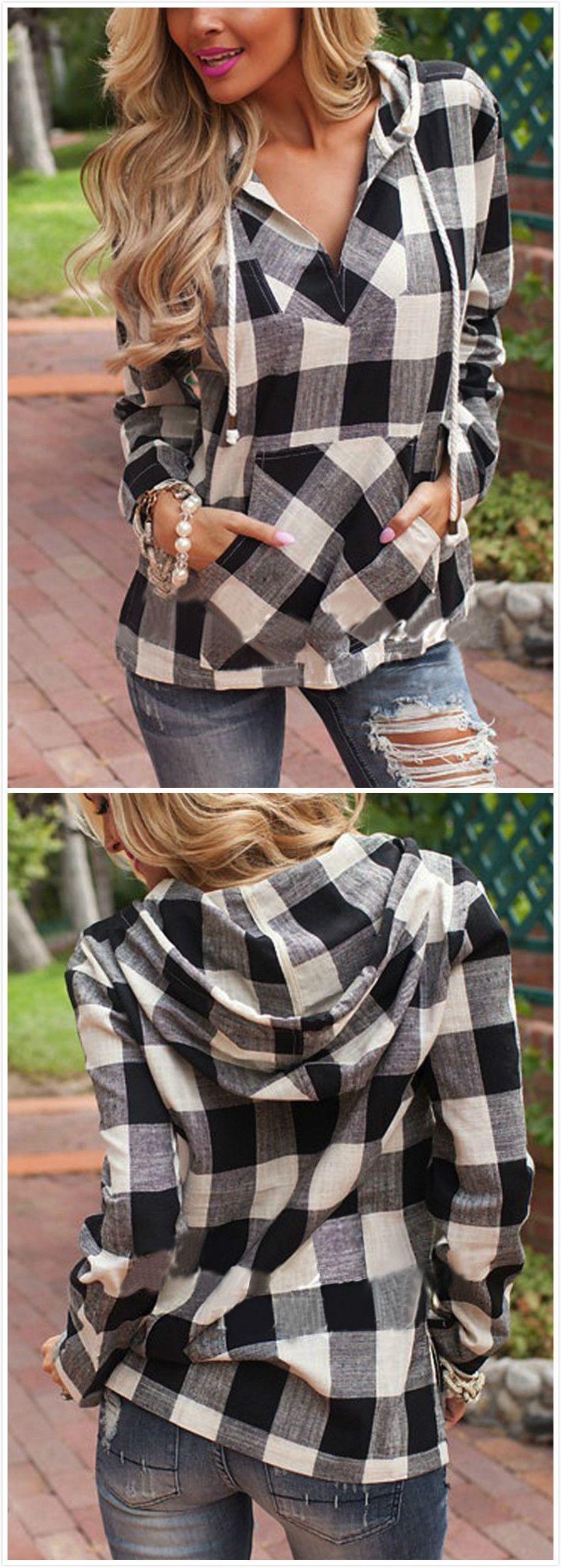 Flannel shirt outfit women  Womenus Fashion Long Sleeve Pullover Plaid Hoodie Shirt  NOVASHE