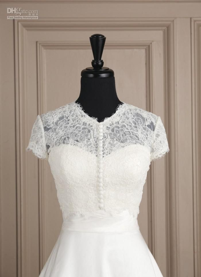 Modest Cap Sleeve Jewel Collar with Decoration Buttons Closure Front ...