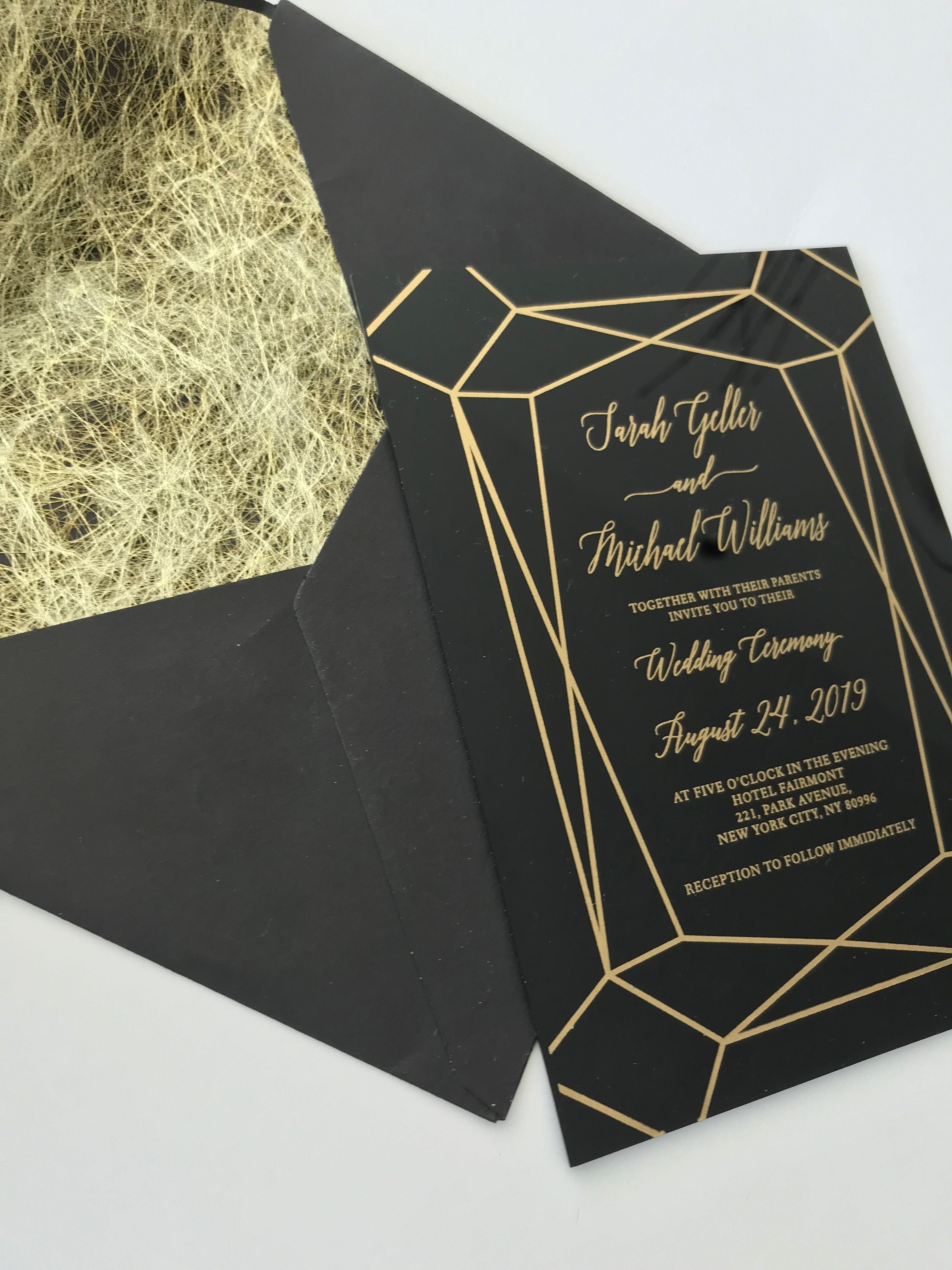 Black acrylic lucite perspex wedding invitations! So classy and great  quality! weddi…   Acrylic wedding invitations, Wedding invitations, Black  and gold invitations