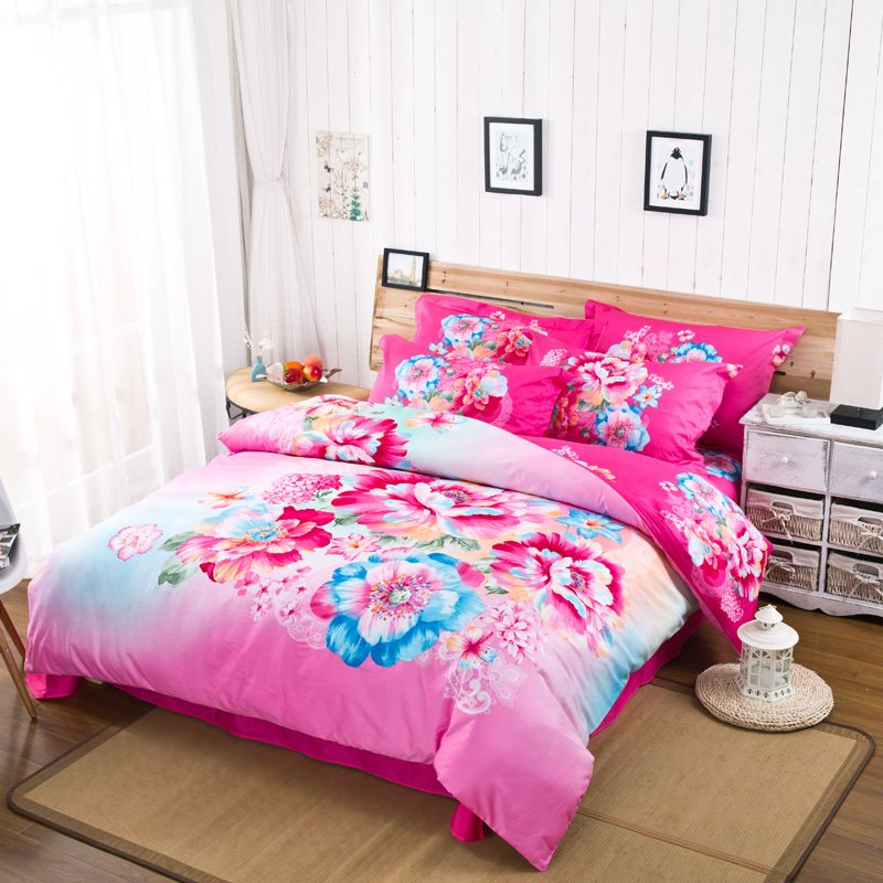 3D Watercolor Flowers Bedding Set Hot Pink Bed Sheets Duvet Cover Queen  King Size Pure Cotton