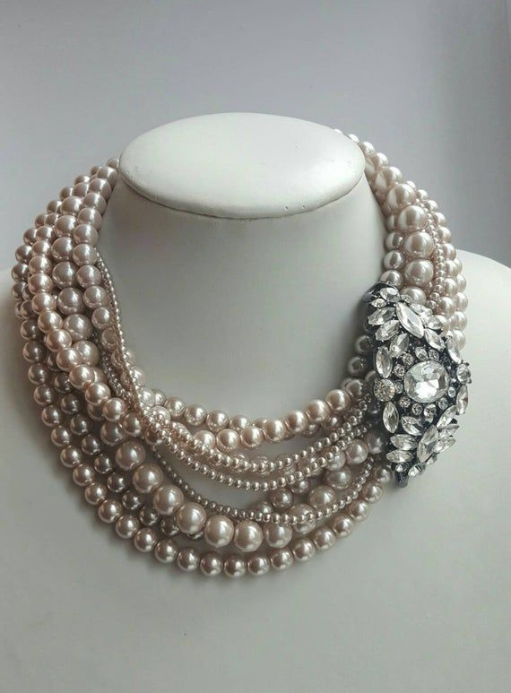 Multistrand light coffee pearl necklace with remov