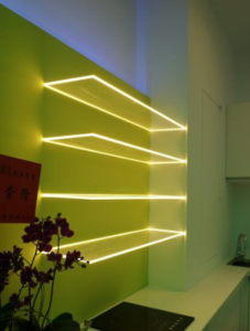 Dulles Glass And Mirror Strip Lighting Home Lighting Floating Glass Shelves