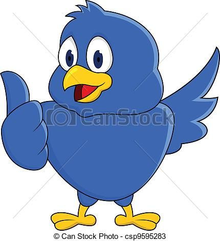 Vectors Of Funny Blue Bird Showing Thumb Up Vector Illustration Of Csp9595283 Search Clip Art Illustration Draw Blue Bird Vector Illustration Clip Art