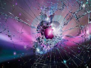 Vidrio roto con el logo de Apple