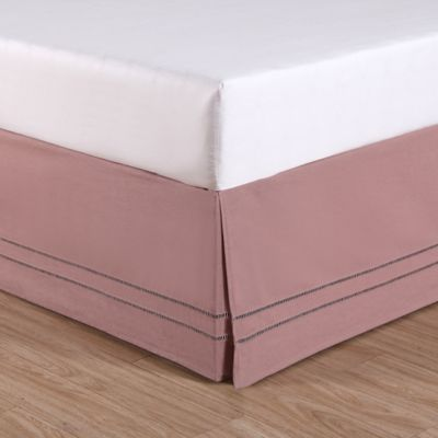 California King Bed Skirt.Linenweave Hemstitch California King Bed Skirt In Blush