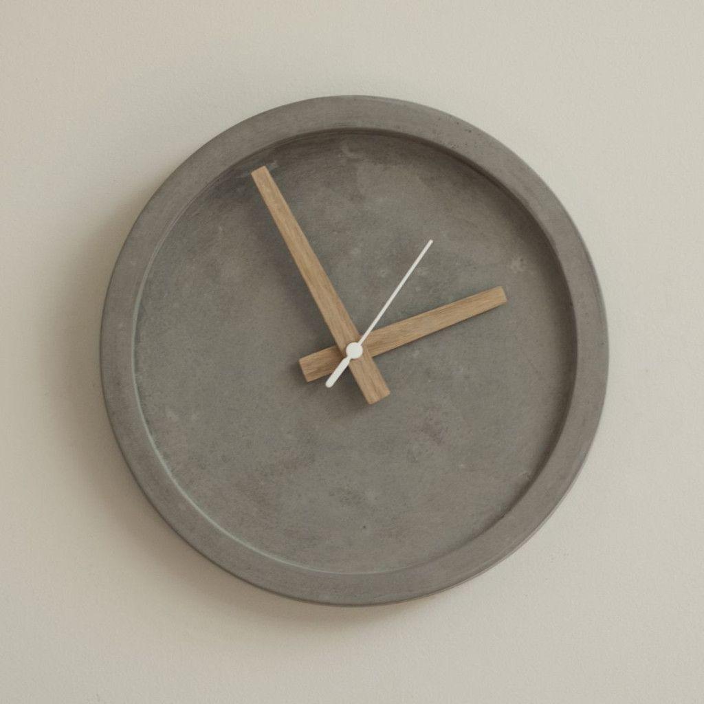 Concrete Wall Clock Oak Hands Wall Clock Design Clock Wall Decor Wall Clock Oak