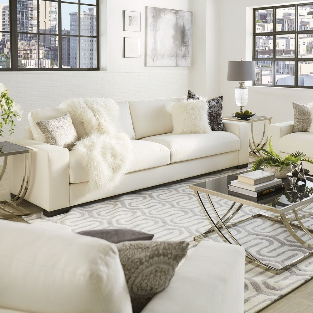 Lionel Deep Seating White Fabric Feather Down Filled Extra-long 108-inch  Sofa by iNSPIRE Q Artisan by iNSPIRE Q