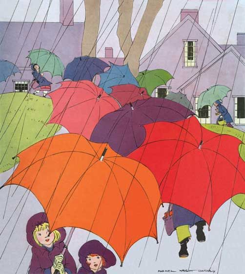 Childhood Illustrator: Maginel Wright Barney Imprint: Laughing Elephant Rain Sisters Umbrellas'