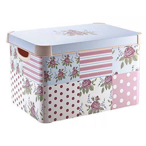 Decorative Plastic Storage Boxes With Lids Curver 212966 Plastic Stockholm Deco Patchwork Storage Bohttps