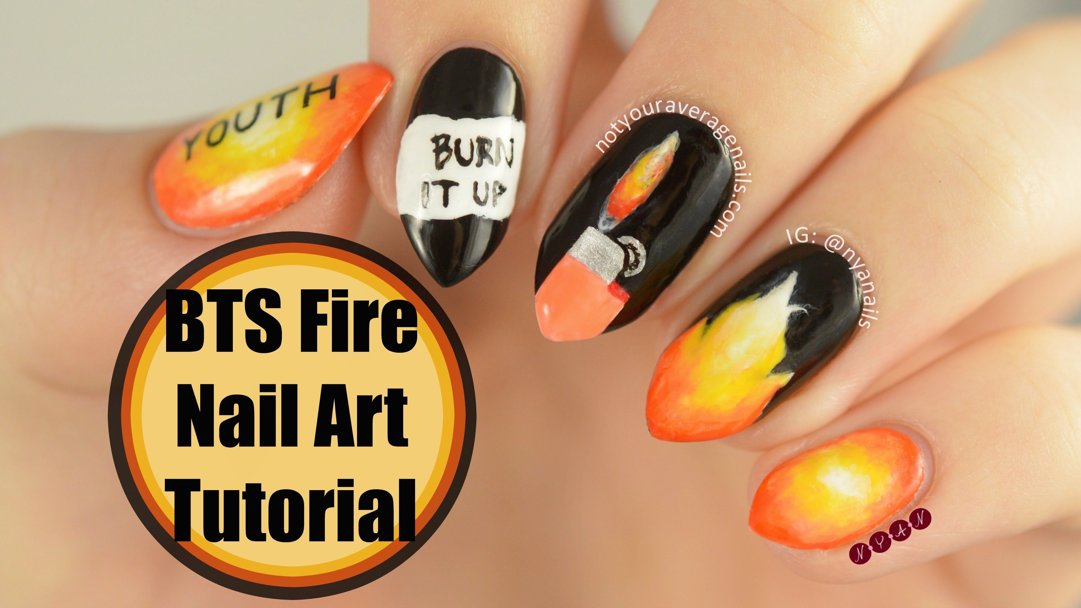 Bts fire nail art tutorial youtube nails pinterest fire bts fire nail art tutorial youtube prinsesfo Gallery