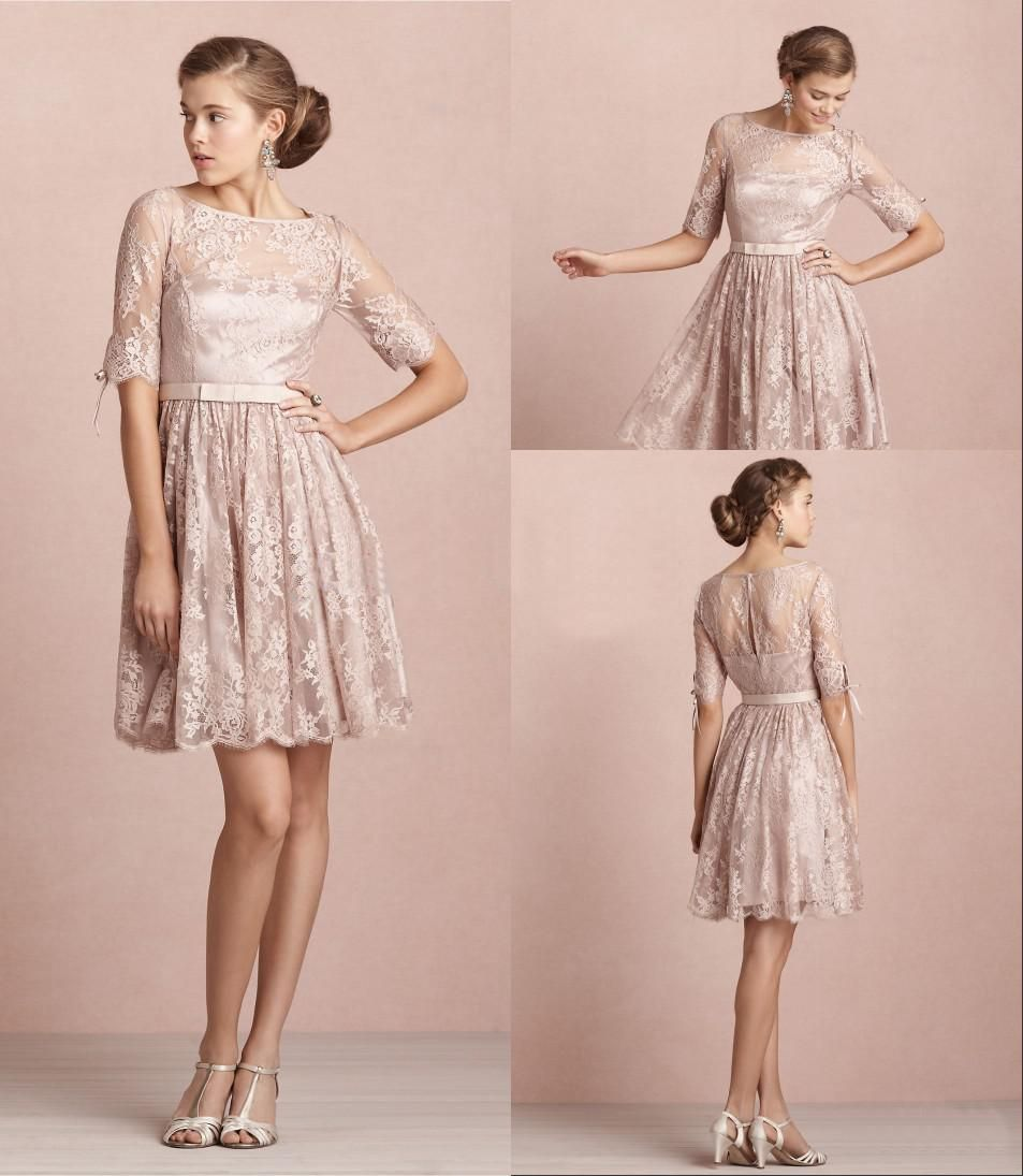A line high collar tea rose lace cocktail dresses short at discount ...