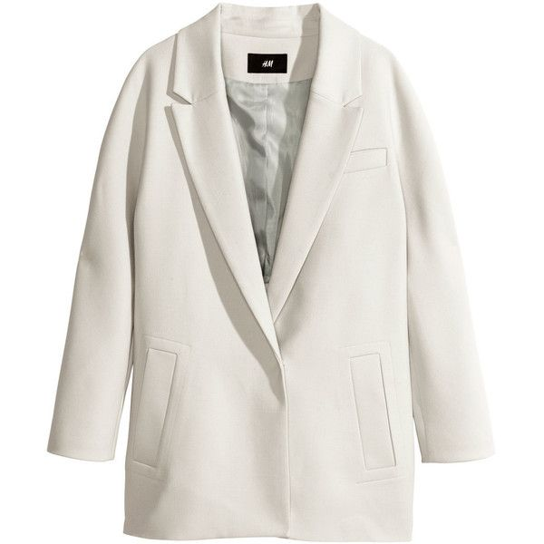 H&M Single-breasted coat (€15) ❤ liked on Polyvore featuring outerwear, coats, jackets, tops, light grey, single breasted coat, h&m coats and lapel coat