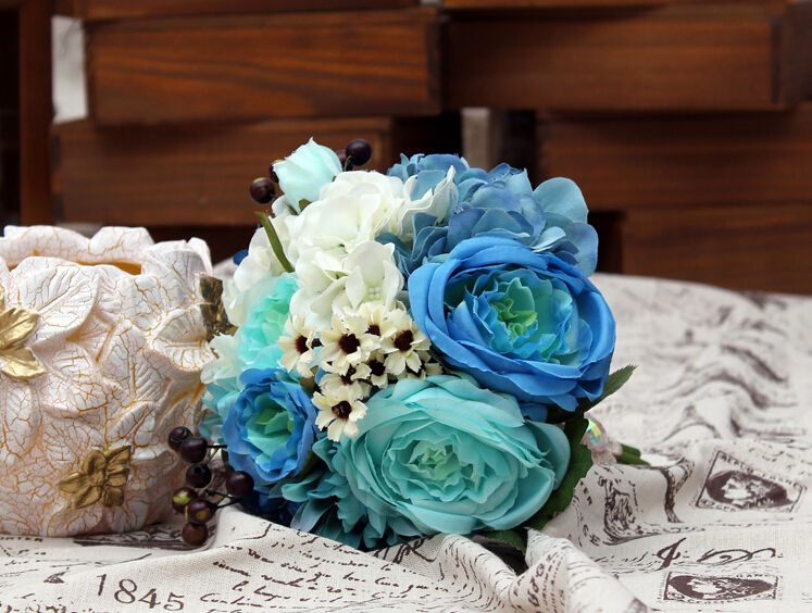 >> Click to Buy << 2017 New Arival Cheap Wedding/Bridesmaid Bridal Bouquet Romantic Blue Peony Colorful Handmade Artificial Bouquets #Affiliate