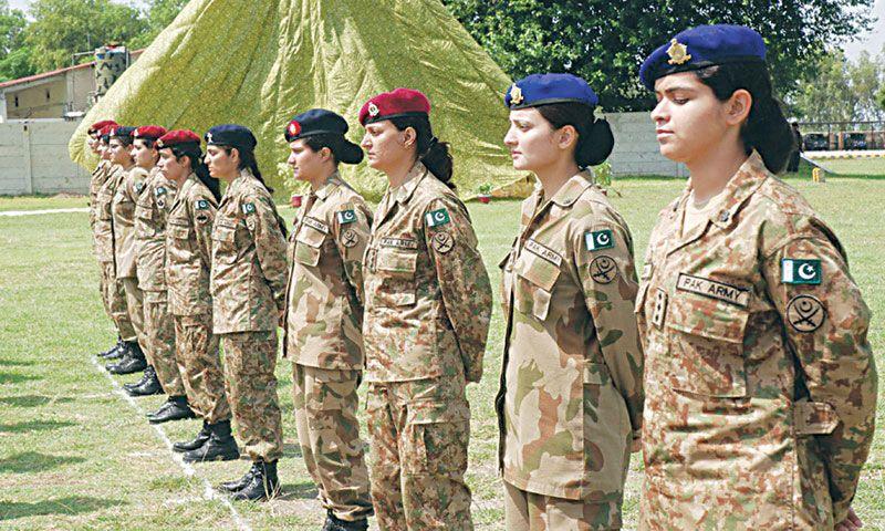 Pakistani female military officers in training. Pakistan