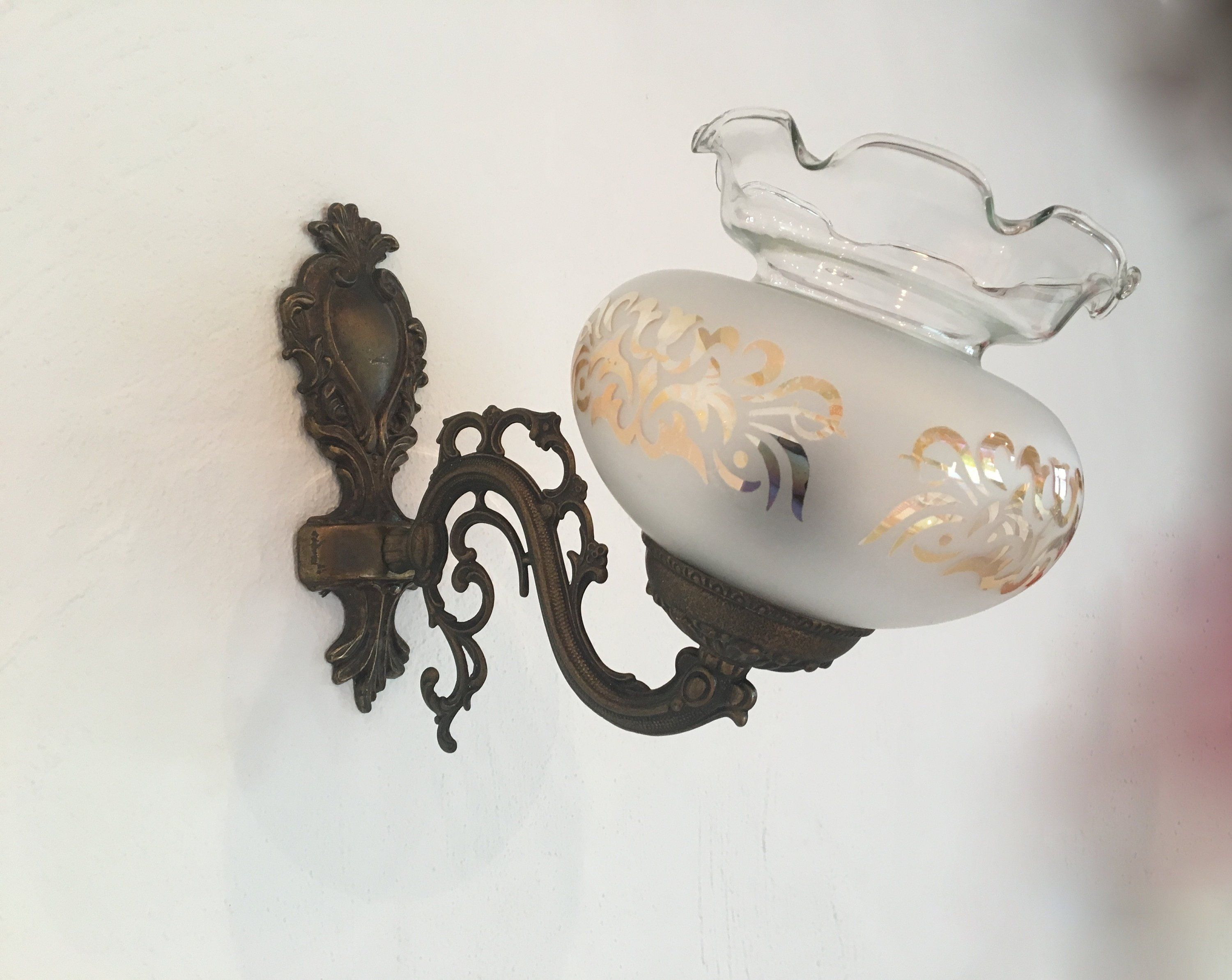 Antique Wall Lamp Brass Lamp Glass Globe Wall Vintage Unit Vintage