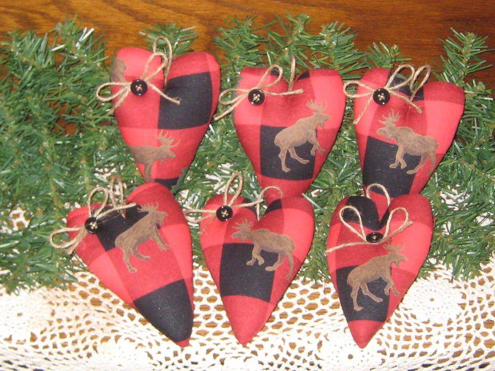 6 Handmade Buffalo Plaid fabric Hearts Ornaments Country Christmas