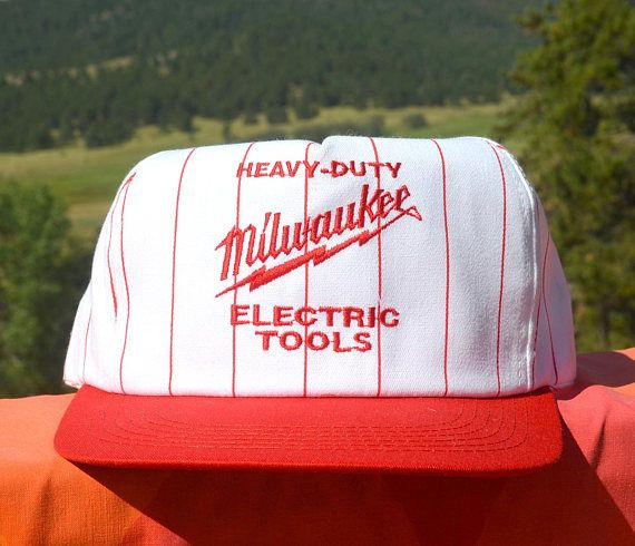 80s Vintage Trucker Hat MILWAUKEE Electric Tools Pinstripe