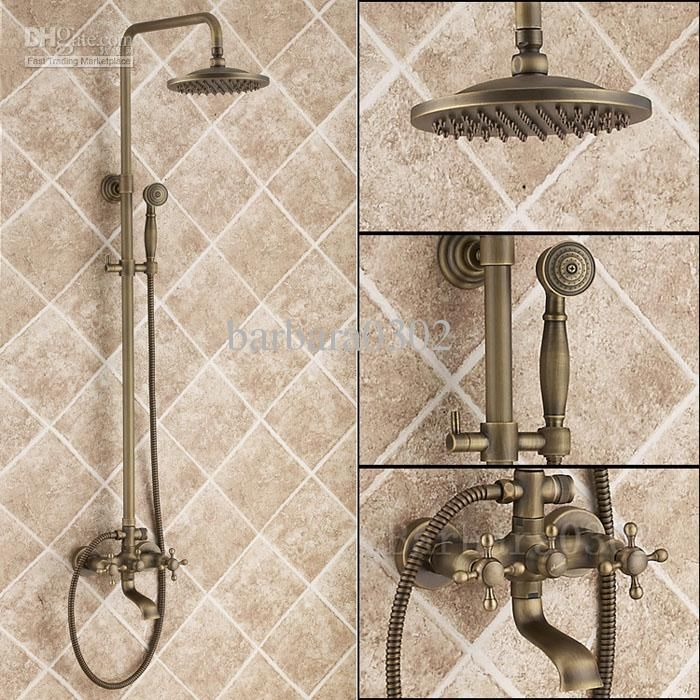 Antique Brass Tub Shower Faucet with Shower Head &Hand Shower | Tub ...