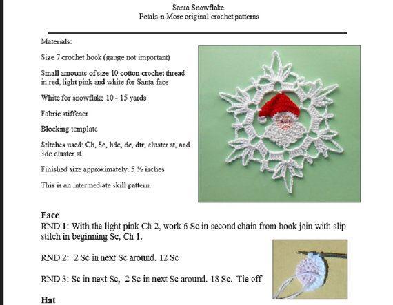 Santa Snowflake - Pdf häkeln Muster | schneeflocke häkeln ...