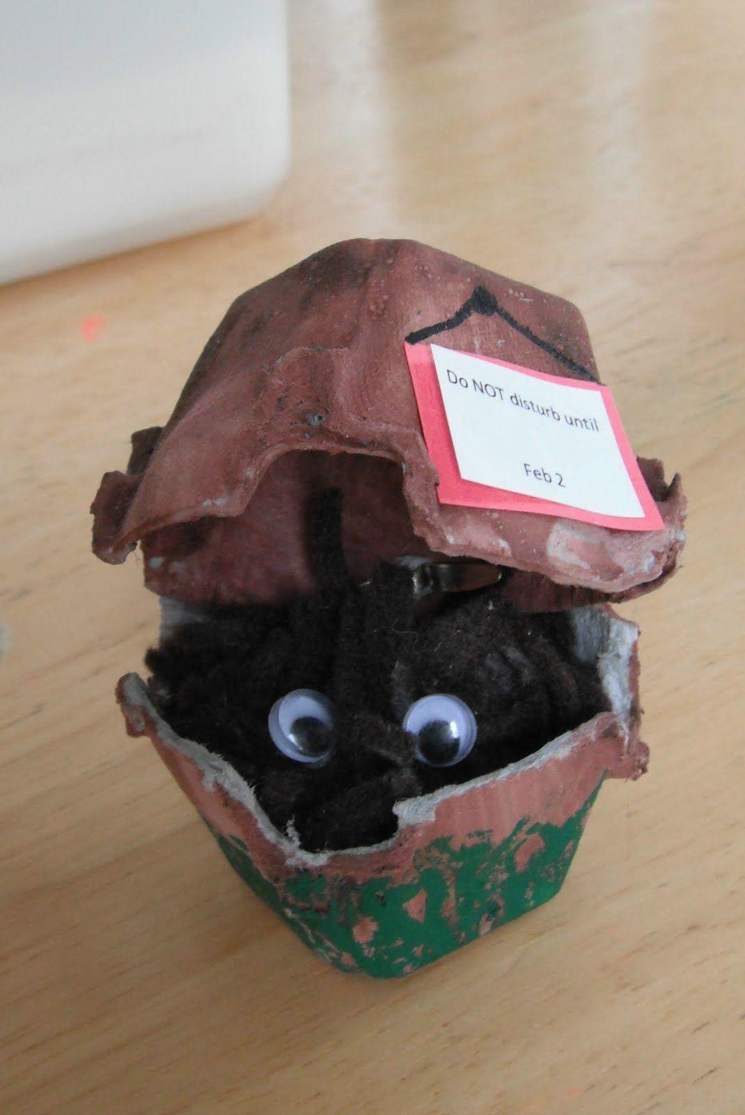 Groundhog Egg Carton Craft