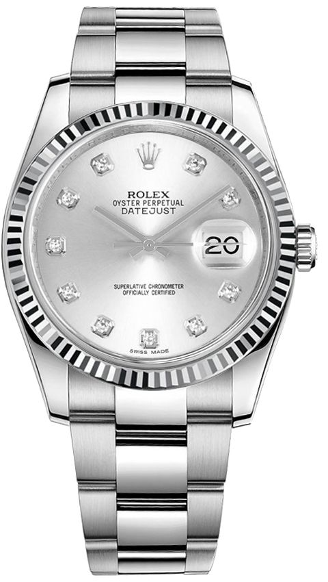 Shop Rolex DateJust 116234 Silver Diamond Dial Watch #rolexdatejust