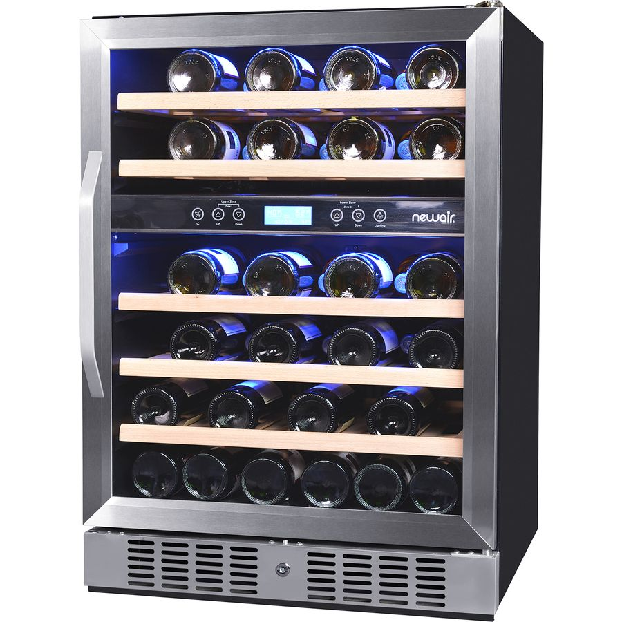 Newair 46 Bottle Capacity Stainless Steel Dual Zone Cooling Built In Freestanding Wine Chiller Lowes Com Built In Wine Cooler Dual Zone Wine Cooler Built In Wine Refrigerator Dual zone wine cooler freestanding