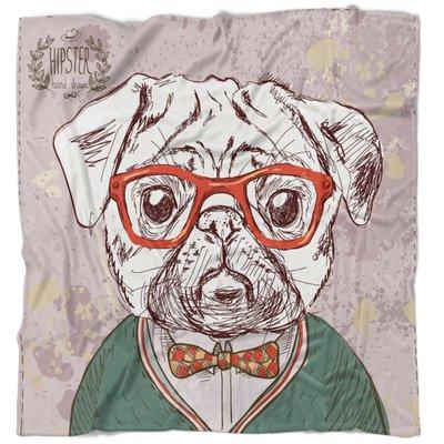 East Urban Home Animal Hipster Pug Dog Blanket Size  71