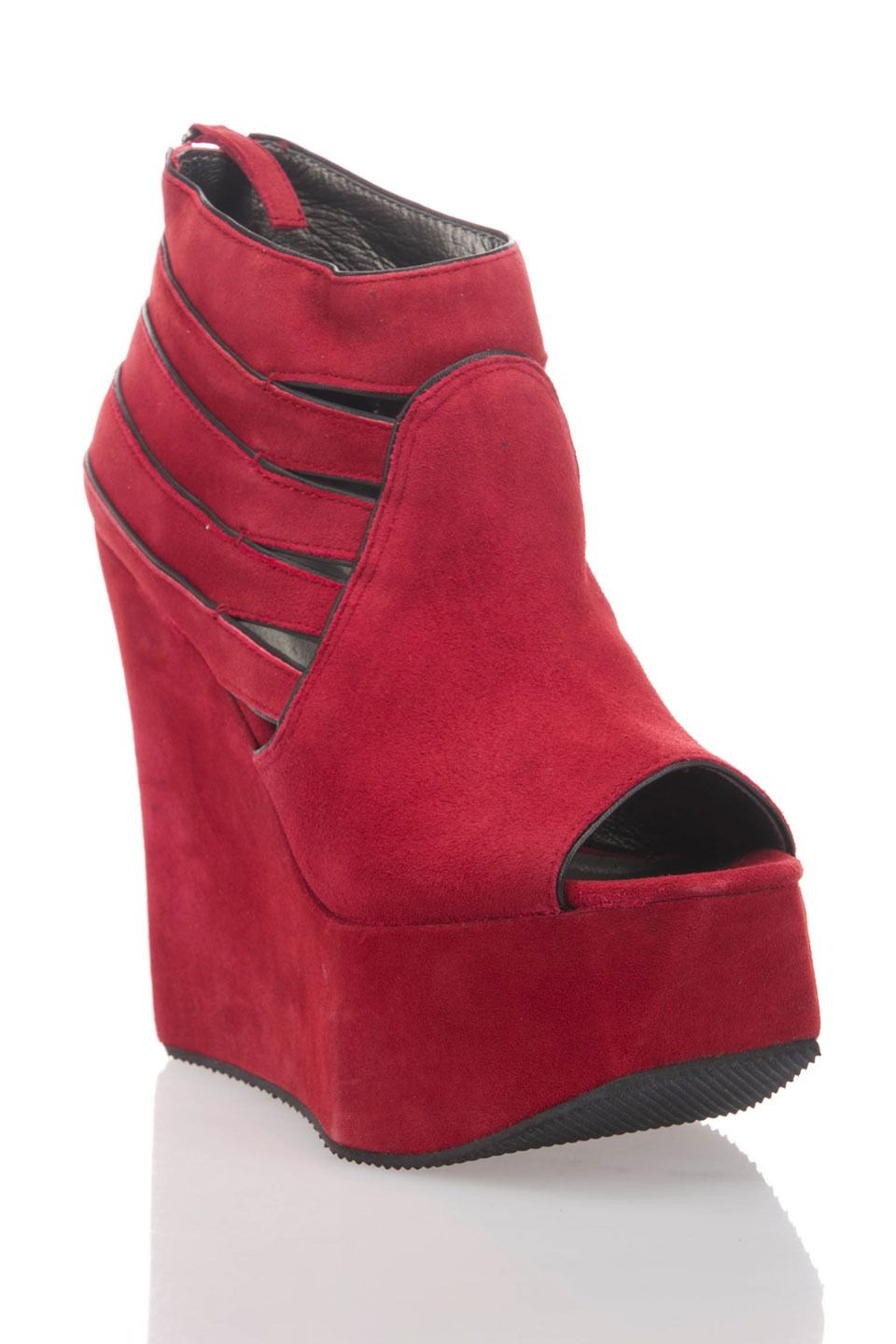 Grey City Jett Open-Toe Platform Wedge Shoes in Red - Beyond the Rack $34.99