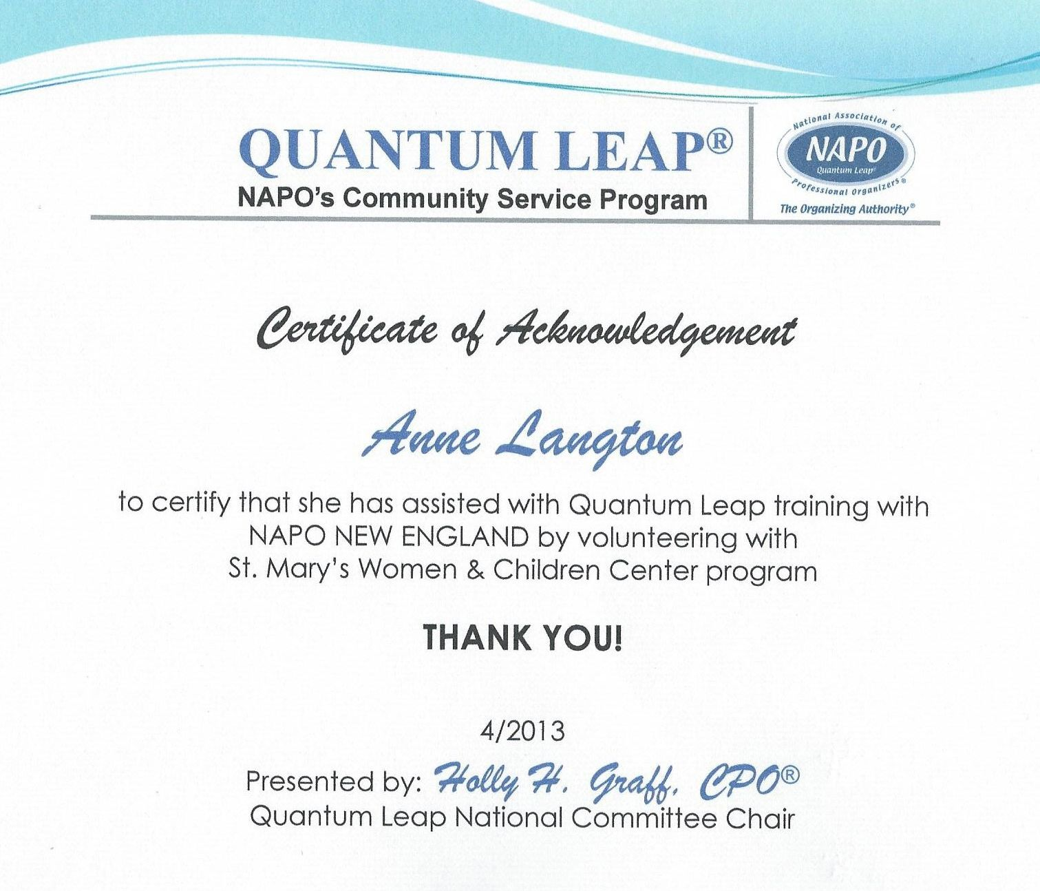 Quantum Leap Certificate Presented By New England Chapter Of