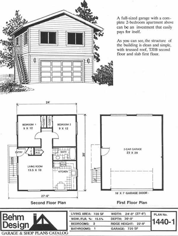 Oversized 2 car garage plan with two story 1440 1 24 39 x for 2 bedroom house plans with garage and basement