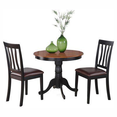 East West Furniture Antique 3 Piece Pedestal Round Dining Table Alluring Three Piece Dining Room Set Decorating Inspiration