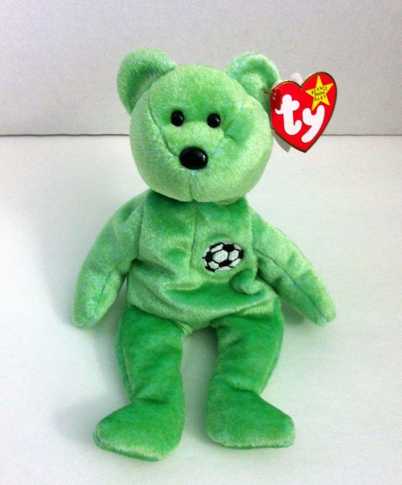 Ty Beanie Baby Kicks Soccer Bear Retired Green with Soccer Ball August 16 b128c27ce679