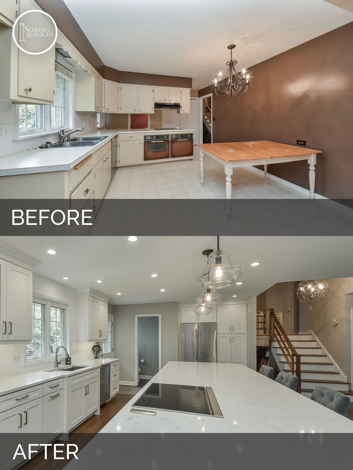 Before And After Open Floor Plan Kitchen Living Room White Cabinets Sebring Services