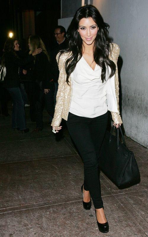 299744805a6a0d Kim Kardashian wearing Yves Saint Laurent Tribute Double Platform Pumps  Hermes So Black Birkin 35 bag
