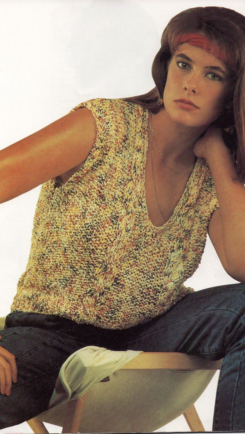 1980\'s vintage knitting pattern, women\'s ladies teens cable knit ...