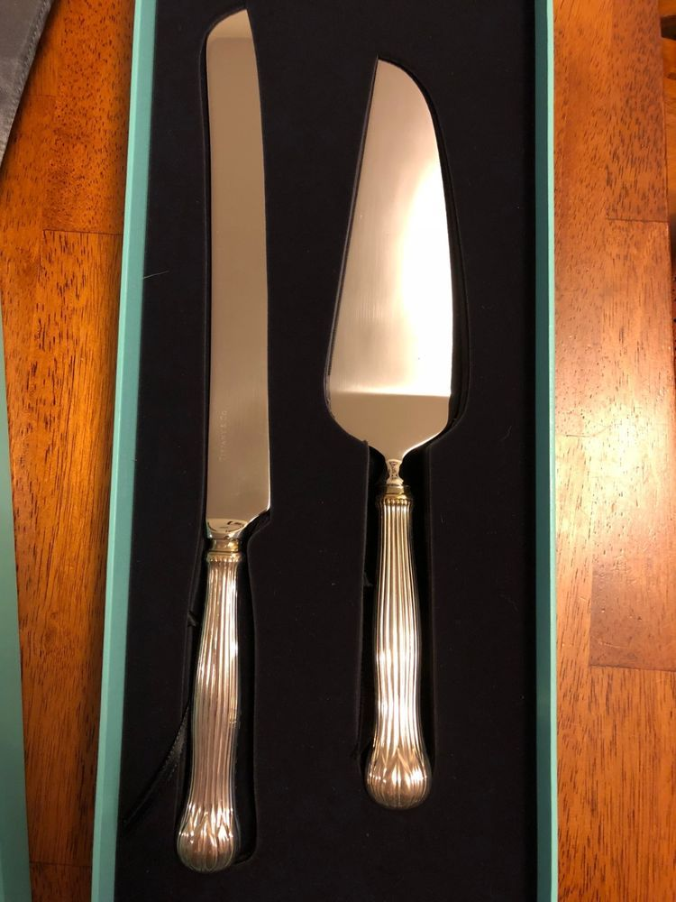 Tiffany Sterling Silver Bread Or Wedding Cake Knife And Server Set W Pouches