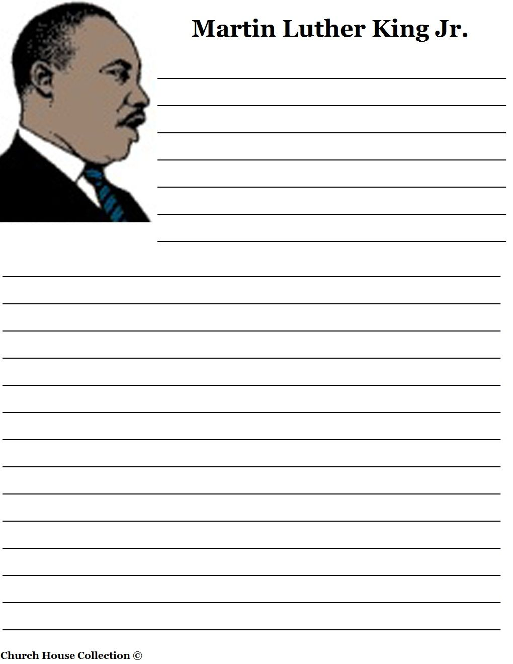 Free printable coloring pages dr martin luther king jr - Martin Luther King Jr Writing Paper