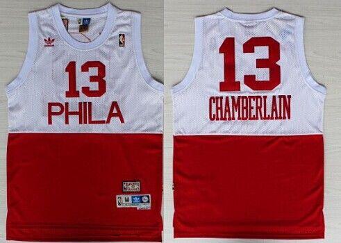 c2b83e667 Philadelphia 76ers  13 Wilt Chamberlain White With Red Swingman Throwback  Jersey