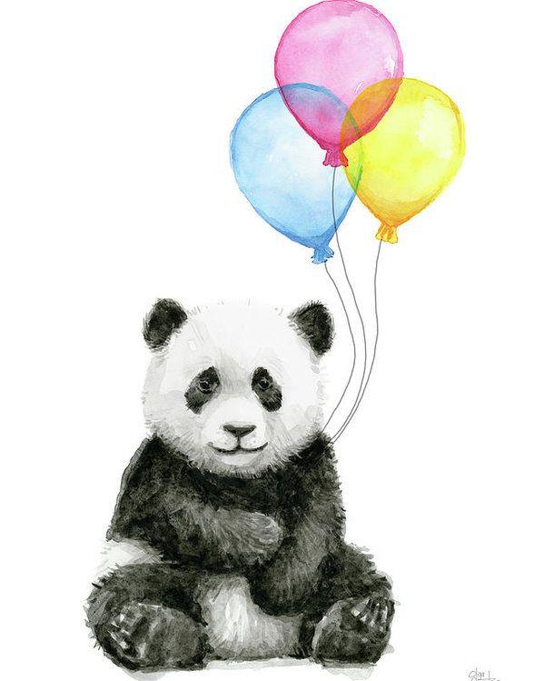 Baby Panda Watercolor With Balloons Poster By Olga Shvartsur