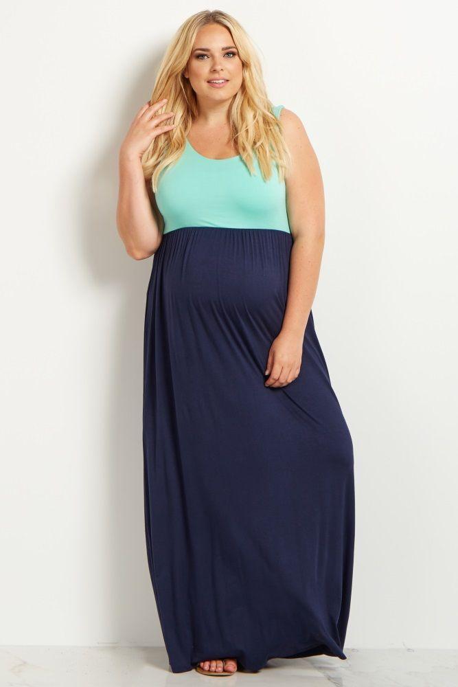 55cda716dd853 Mint Green Colorblock Plus Maternity Maxi Dress | Maternity plus ...