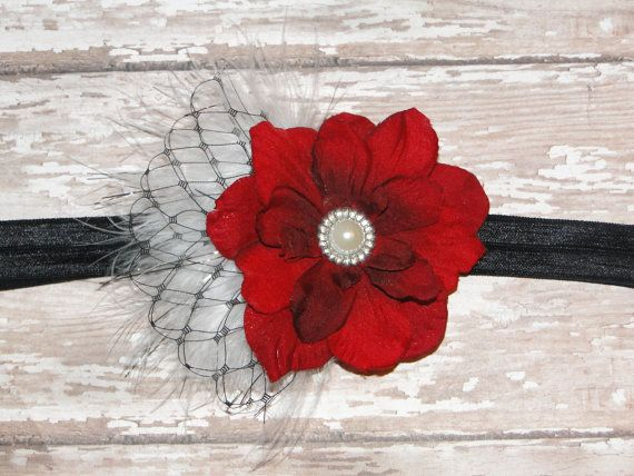 Valentines Headband Red Feather & Veil Baby by BabyliciousDivas