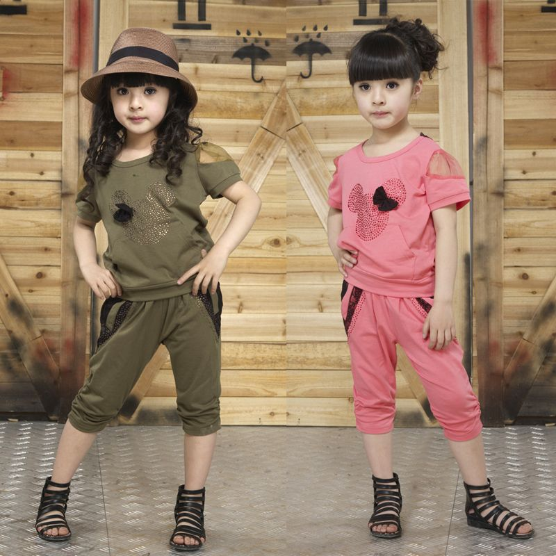 Children's clothing 2013 summer new girls baby casual two-piece fashion sets kids T-shirt and pants suits free shipping US $12.77
