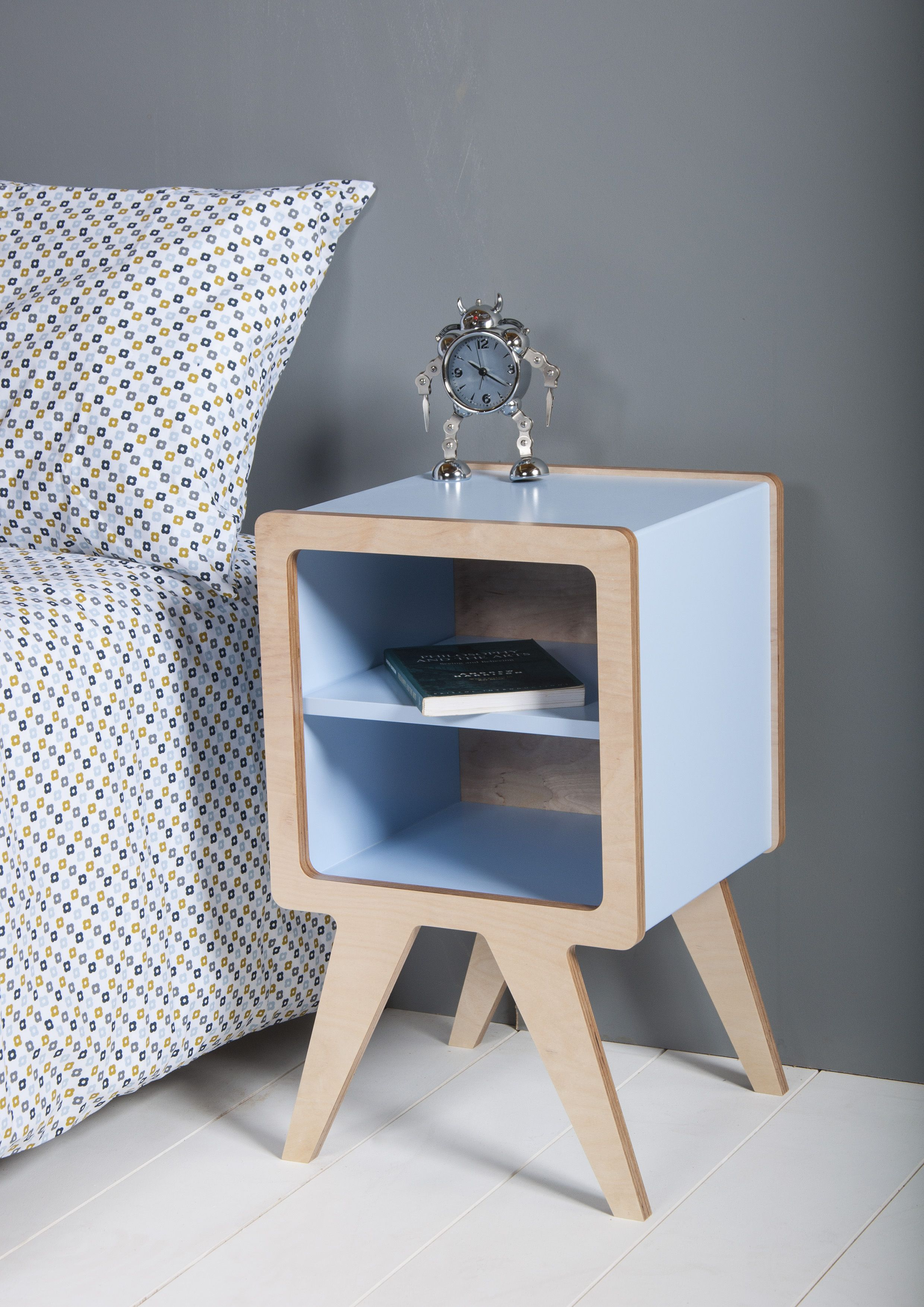 """Obi furniture's """"Space"""" bedside table with blue lacquer"""