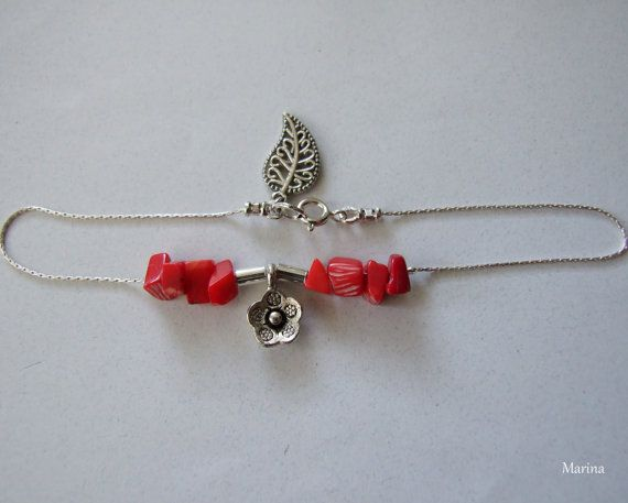Red Coral Sterling Silver Ankle Bracelet by MarinaKermanJewelry, $33.00