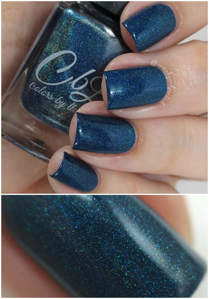 Colors by Llarowe Winter 2015 - Peacock Parade is a deep blue toned teal holographic. Swatch by @ermahgerdperlish on Instagram.