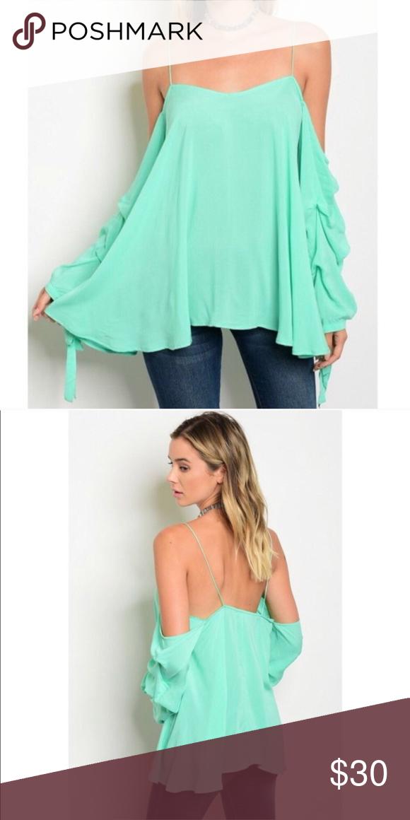 2e637dadb8d30 Mint Green Cold Shoulder Top Mint Green Cold Shoulder top. Boutique item