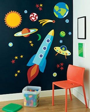 outer space murals rocket ship out of this world olive kids wall stickers decals bubbie room. Black Bedroom Furniture Sets. Home Design Ideas