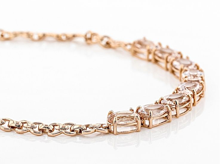 Pink Morganite 10k Rose Gold Bracelet 5 04ctw Kmh004 Gold Bracelets Rose Gold