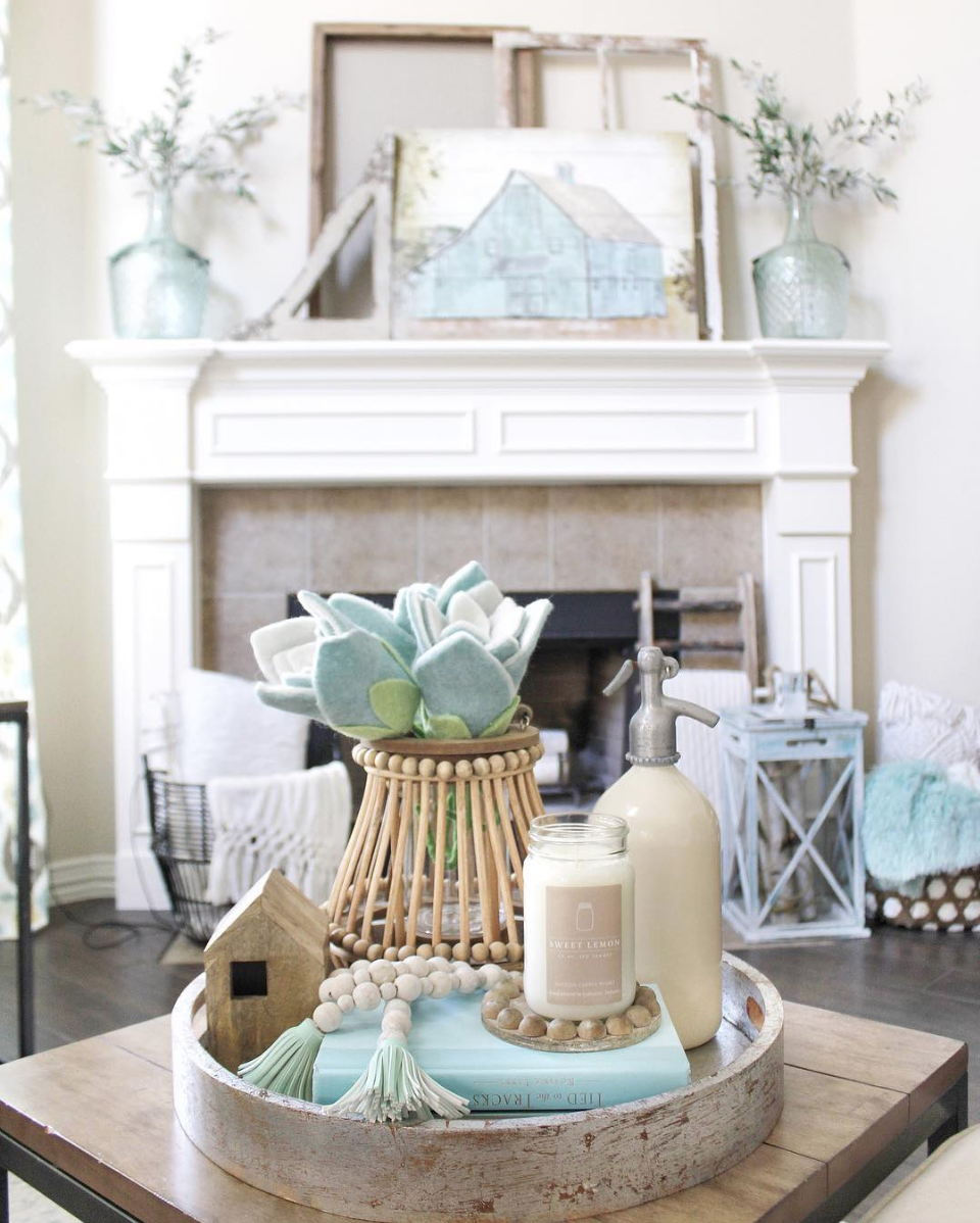 Farmhouse Living Room Decor Inspiration With Neutral Colors And A Pop Of Blue And Gray Loving Color Farmhouse Decor Living Room Farm House Living Room Decor