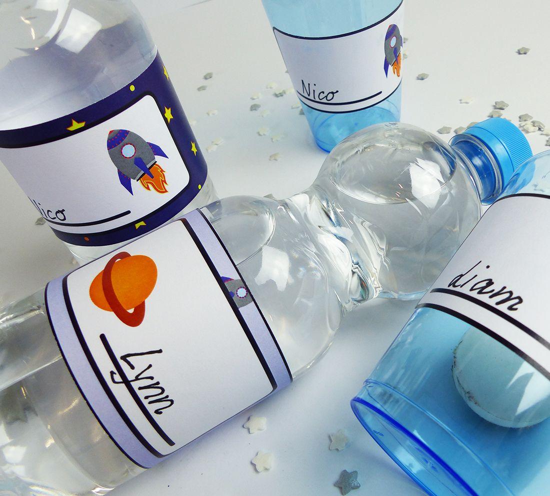 Hier findest Du eine tolle Vorlage für Weltraum Flaschenetiketten ...
